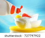 concept washing up. liquid... | Shutterstock . vector #727797922