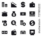 16 vector icon set   coin stack ... | Shutterstock .eps vector #727801222