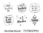 happy teacher's day labels ... | Shutterstock .eps vector #727802992