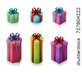 set of gift boxes with bows and ... | Shutterstock .eps vector #727804222