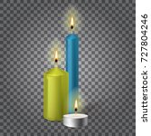 3d set realistic paraffin... | Shutterstock .eps vector #727804246