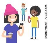 mobile messenger concept.... | Shutterstock .eps vector #727816525