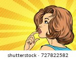 beautiful woman face thinking.... | Shutterstock .eps vector #727822582
