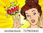 scared omg woman. pop art retro ...   Shutterstock .eps vector #727822642