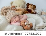 little newborn baby boy ... | Shutterstock . vector #727831072
