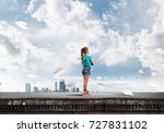 cute kid girl standing on... | Shutterstock . vector #727831102