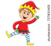 christmas elf cartoon | Shutterstock . vector #727831405