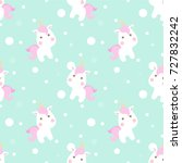 cute unicorn seamless pattern... | Shutterstock .eps vector #727832242