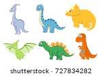 set of cartoon funny dinosaurs. ... | Shutterstock .eps vector #727834282