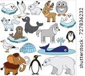northern animals elements set ... | Shutterstock .eps vector #727836232