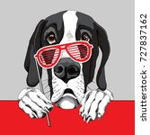 great dane dog with a red grill ... | Shutterstock .eps vector #727837162