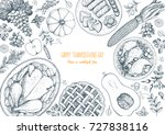 thanksgiving day top view... | Shutterstock .eps vector #727838116