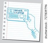 hand holding driver license   Shutterstock .eps vector #727839796