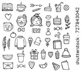 set of hipster xmas stickers.... | Shutterstock .eps vector #727843042