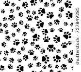 cats paw print. vector seamless ... | Shutterstock .eps vector #727849285