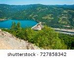 dam perucac on a drina river.... | Shutterstock . vector #727858342