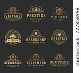 luxury monograms logos... | Shutterstock .eps vector #727858996