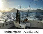 fishing in the ocean. saltwater ... | Shutterstock . vector #727860622