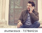 man talking on a phone. casual... | Shutterstock . vector #727864216