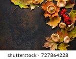 autumn background with autumn... | Shutterstock . vector #727864228