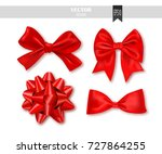 set of red gift bows with... | Shutterstock .eps vector #727864255