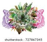 the head of a tiger. meditation ... | Shutterstock .eps vector #727867345