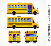 set with yellow school bus.... | Shutterstock .eps vector #727868146