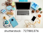 comfortable blogger's workplace ... | Shutterstock . vector #727881376