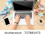 woman working with laptop at... | Shutterstock . vector #727881472