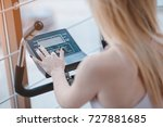 one beautiful girl exercising... | Shutterstock . vector #727881685