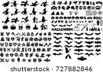 halloween silhouette elements... | Shutterstock .eps vector #727882846