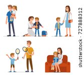 parents with children spend... | Shutterstock .eps vector #727888312