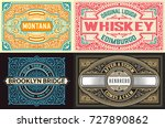 set of 4 old labels | Shutterstock .eps vector #727890862