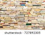 stack of old books in full... | Shutterstock . vector #727892305