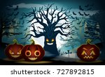 halloween background. scary... | Shutterstock .eps vector #727892815