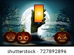 halloween background. zombie... | Shutterstock .eps vector #727892896