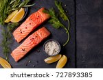 fresh organic salmon ready for... | Shutterstock . vector #727893385