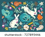 vector illustration with funny... | Shutterstock .eps vector #727895446