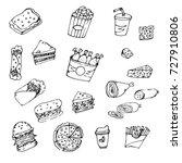 doodle food fries  chicken ... | Shutterstock .eps vector #727910806