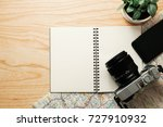 top view of travel accessories... | Shutterstock . vector #727910932