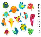 cartoon colorful birds set.... | Shutterstock .eps vector #727912372