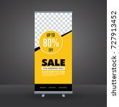 yellow and black rollup banner... | Shutterstock .eps vector #727913452