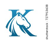 Stock vector vector blue wild horse initial k business logo 727913638