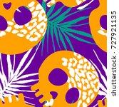 seamless stylized skull pattern....   Shutterstock .eps vector #727921135
