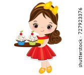 vector cute little girl holding ... | Shutterstock .eps vector #727923376