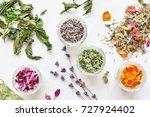 various herbal tea ingredients... | Shutterstock . vector #727924402