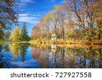 sunny autumn landscape with... | Shutterstock . vector #727927558