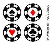 poker chips set. each chip is... | Shutterstock .eps vector #727928002