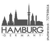 hamburg skyline silhouette...   Shutterstock .eps vector #727938616