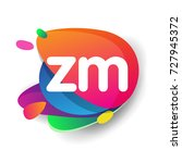 letter zm logo with colorful... | Shutterstock .eps vector #727945372